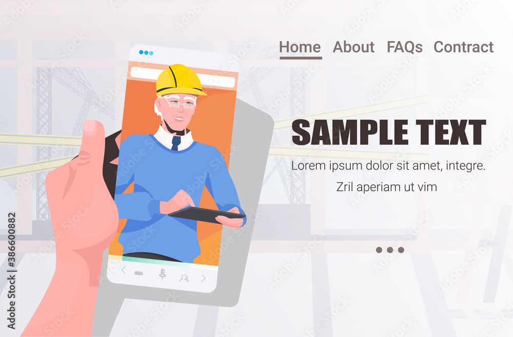 Fototapeta male engineer on smartphone screen discussing during video call self isolation online communication concept construction site master in helmet horizontal copy space portrait vector illustration