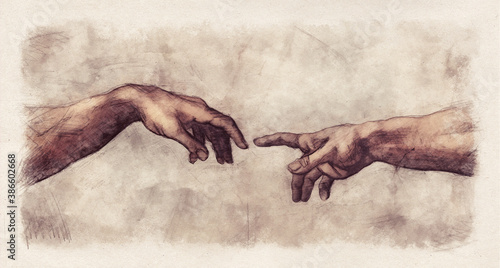 Fototapeta The Creation of Adam digital pencil and watercolor sketch reproduction from a section of Michelangelo's fresco Sistine Chapel ceiling in the style of old drawings