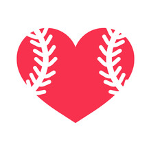 Hearts With Baseball Dotted Lines For Baseball Lovers