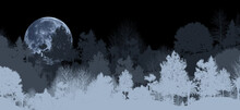 Spooky 3D Illustrations Of Panoramic Mountains, Trees And Moons. There Is A Shallow And Deep Mountain With Fog. And The Moon In The Forest At Night