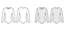 Stretch-jersey Bodysuit Technical Fashion Illustration With Crew Neck, Long Sleeves, Fitted Body. Flat One-piece Underwear Apparel Template Front, Back White Grey Color. Women Men Swimsuit CAD Mockup