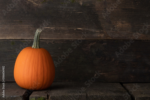 Obraz Orange pumpkin on wooden background - fototapety do salonu