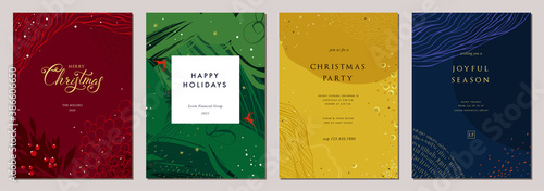 Modern universal artistic templates. Merry Christmas Corporate Holiday cards and invitations. Abstract frames and backgrounds design.  - 386606650