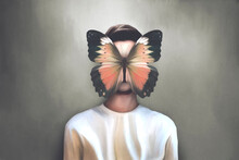 Illustration Of Attractive Woman With Butterfly Flying Over Her Face, Surreal Concept