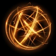 Gold Light Circle Effect On Black Background