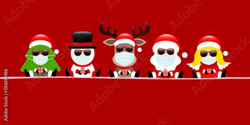 Banner Baum Schneemann Rentier Weihnachtsmann Und Engel Maske Mit Sonnenbrille Rot - 386614486