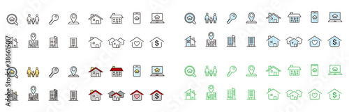 Real Estate icons collection vector Wallpaper Mural