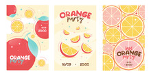 Orange Party Invitation Card. Lemonade, Fruit. Vector Illustration Set Can Be Used For Invitations, Advertising, Posters