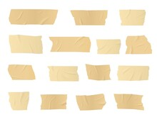 Duct Tape Pieces, Vector Adhesive Stripes, Glued Sticky Scotch Tape For Fix, Repair Or Packaging Purposes. Realistic 3d Wrinkled Beige Insulating Plaster Or Paper Patches, Isolated Bandage Objects Set