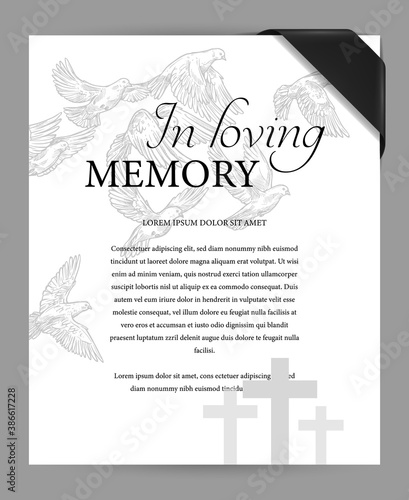 Photo Funereal card design template with black mourning ribbon on corner, cemetery graves crosses and flying doves engraved vector