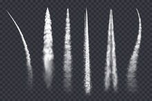 Plane Smoke Trail, Air Jet Clouds, Vector Contrail Realistic 3d Airplane Or Rocket White Lines. Design Elements, Vapor Effect In Sky, Spray Straight And Curve Tracks Isolated On Transparent Background
