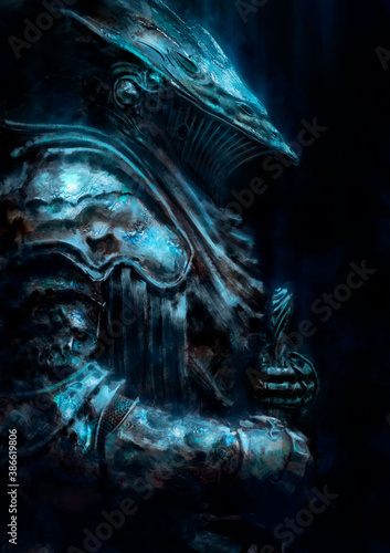 A village knight a golem in beautiful rustic armor, leaning on a sword, his helmet in the shape of a gargoyle, soft moonlight shining on him Wallpaper Mural