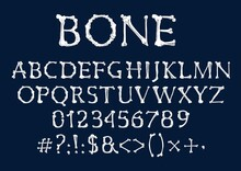Font Of Bones, Vector Halloween And Dia De Los Muertos Holidays Design. Alphabet Type Of Human Skeleton Bones, Capital Letters, Numbers Or Digits And Punctuation Marks Of Tibia, Fibula, Ribs, Humerus