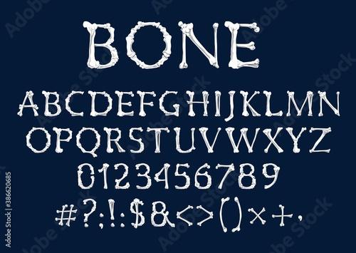 Font of bones, vector Halloween and Dia de los Muertos holidays design Fototapeta