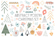 Modern Abstract Hand Drawing Christmas Doodles Set, Trendy Contemporary Clip Art