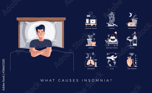 Fotografie, Obraz Insomnia causes vector illustration set