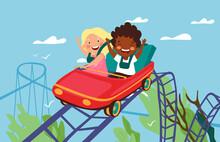 Roller-coaster Concept. Happy Children Riding On Roller-coaster In Amusement Park. Diverse Hildren Having Fun In Amusement Park. Roller Coaster. Exhilarating Rides. Flart Cartoon Vectot Illustration