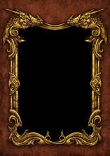Fantasy Golden Dragon Frame Background - Digital Illustration