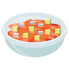Sweet Dish In A Bowl Garnished With Jellies And Candie Cubes Showing Icon For Trifle