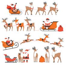 Santa Claus And Reindeers On Christmas Holidays