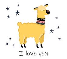 Cute Llama. Scandinavian Style Background. Vector Illustration In Cartoon Style