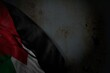 wonderful dark photo of Jordan flag with big folds on rusty metal with empty space for content - any occasion flag 3d illustration..