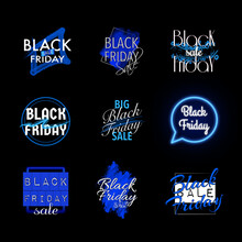 Black Friday Blue Stickers For Discount Coupon, Card, Poster, Banner. Big Sale