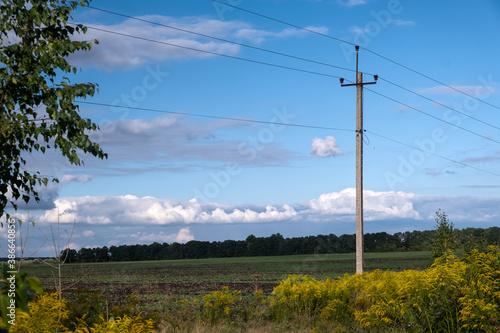 Papel de parede Power electric pole survived after the storm