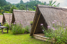 Chiangmai, Thailand - October, 10, 2020 : Bamboo Hut, Thatched Roof In Rural Areas In Farmland For Visitor At Chiang Mai, Thailand.