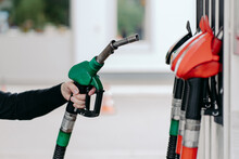 Car Fueling Concept. Mans Hand...