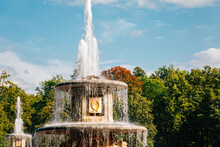 Peterhof Palace Garden, Fountain In Saint Petersburg, Russia