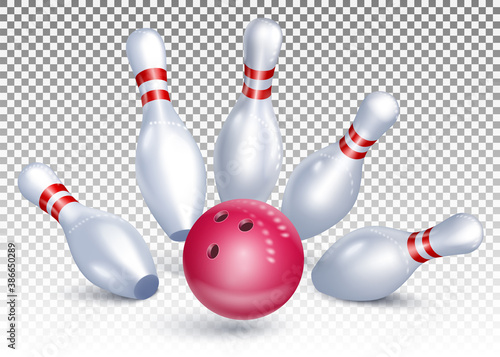 The bowling ball hits the pins Canvas-taulu