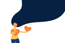 Young Woman Hugs And Holding Few Heart With Love And Care. Girl With Long Hair Holds Orange Heart In Her Hands. Self Care And Body Positive Concept. Flat Vector Illustration