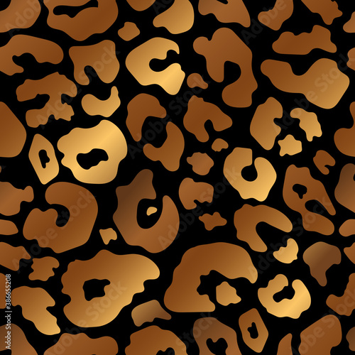 Trendy bronze leopard abstract seamless pattern. Vector Wild animal cheetah skin gold metallic texture on black background for fashion print design, textile, cover, wrap, wallpaper