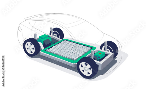 Obraz Electric car chassis with high energy battery cells pack modular platform. Skateboard module board. Vehicle components motor powertrain, controller with bodywork wheels. Isolated vector illustration. - fototapety do salonu