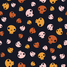 Cartoon Pink, Yellow And Brown Sculls Isolated On Black Background. Vector Seamless Pattern. Halloween Backdrop. Simple Flat Design For Textile, Wrapping Paper, Wallpaper, Web Design.