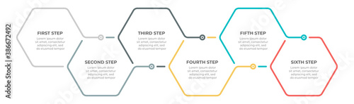 Timeline infographic template design vector with 6 options or steps. Can be used for workflow diagram, info chart, annual report.