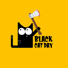 Black Cat Day Funky Banner Wit...