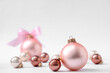 Beautiful Christmas balls on white background. Space for text