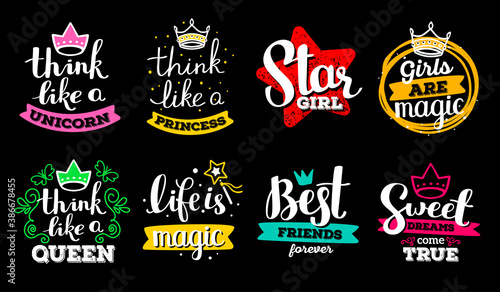 Set of beautiful vector girly handwritten white inscription with color decorative element on black background. #386678455