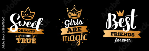 Set of beautiful vector girly handwritten white inscription with shine golden color crown and decorative element on black background. #386679060