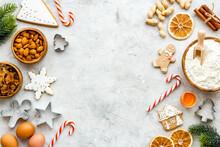 Food Frame Of Christmas Gingerbread Cookies, Top View