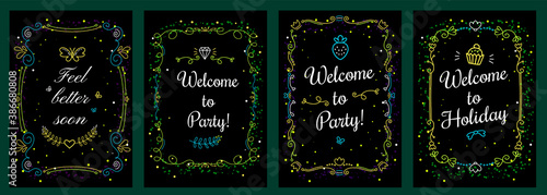 Vector set of floral template illustration with curly green color frame and inscription on black background. #386680808