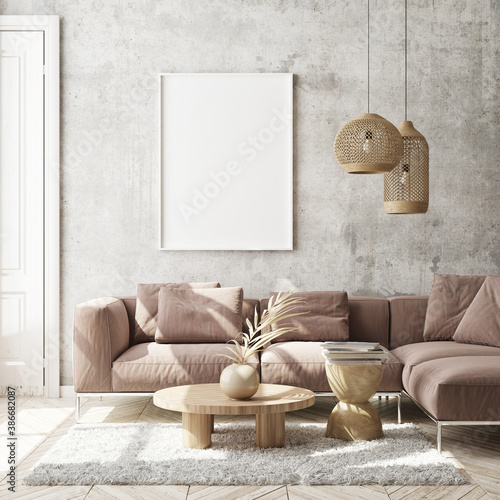 mock up poster frame in modern interior background, living room, Scandinavian style, 3D render, 3D illustration - 386682087