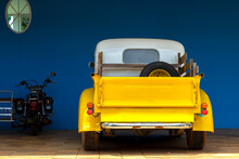 Yellow Classic Cars And Motorbike In Dark Blue Background With Copy Area And Text Area.