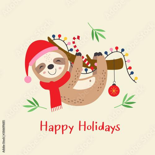 Naklejka premium Christmas card with cute sloth