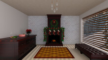 Home Interior With Fireplace, And Contemporary Furniture, Decorated For Christmas, Photorealistic 3D Illustration, Suitable For Using As Video Conference And Zoom Background.