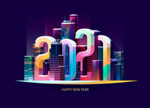 New Year 2021. Colorful Greeting Card Design.
