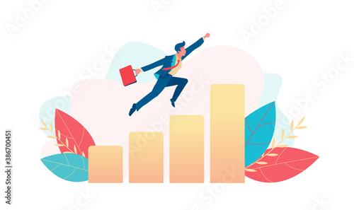 Businessman flies up over growing chart Fototapet