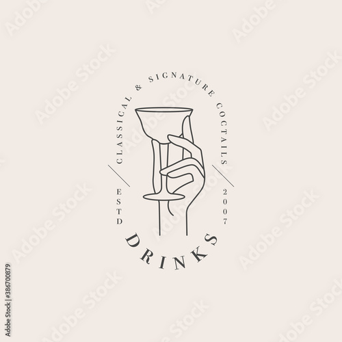 Vector design linear template logo or emblem - hand with glass of drink. Abstract symbol for cafe or bar.
